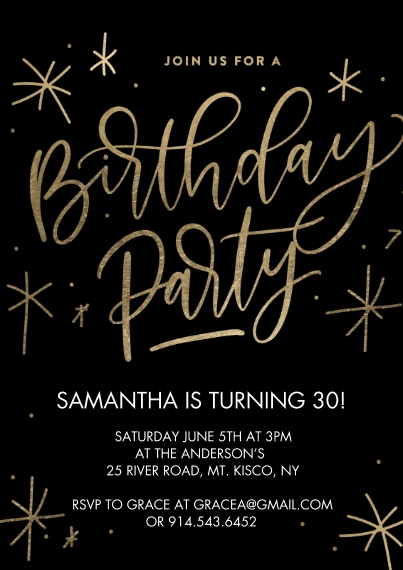 Kids Birthday Party 5x7 Cards, Premium Cardstock 120lb, Card & Stationery -Birthday Party Sparkling Gold by Tumbalina