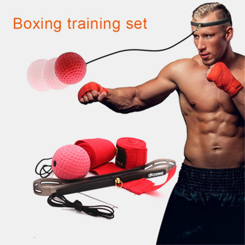 Boxing Fight Ball on String Fitness Punching Head Bands Set Improving Speed Reaction Hand Eye