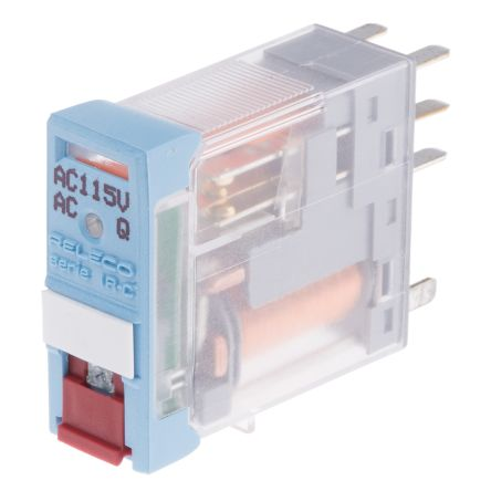 Releco , 115V ac Coil Non-Latching Relay DPDT, 5A Switching Current PCB Mount