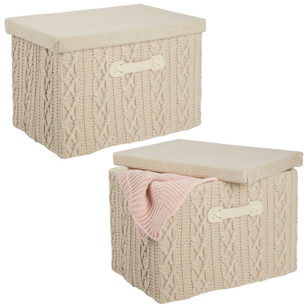 Medium Knit Fabric Storage Box with Lid - Pack of in Taupe, by mDesign
