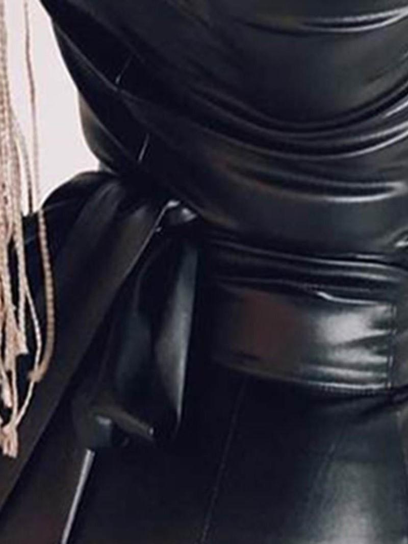 Ericdress Long Sleeve Knee-Length V-Neck Plain Pullover Dress