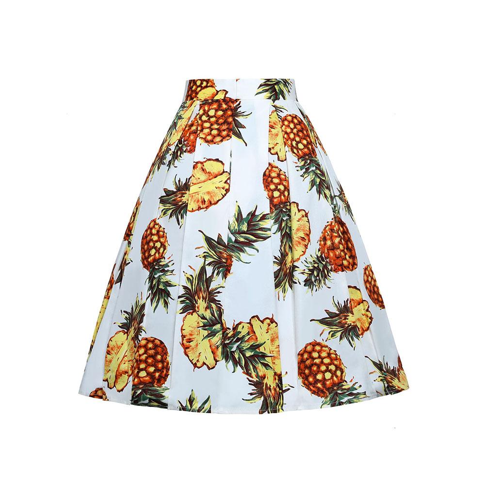 3D Pineapple Print Knee-Length A-Line Plant Casual Women's Skirt Bottoms