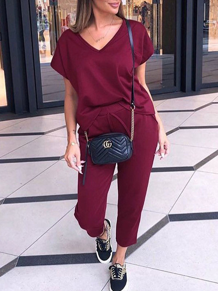 Milanoo Two Piece Sets Burgundy Short Sleeves T-shirt With Pants For Women