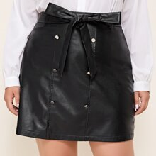 Plus Double-breasted Belted PU Leather Skirt