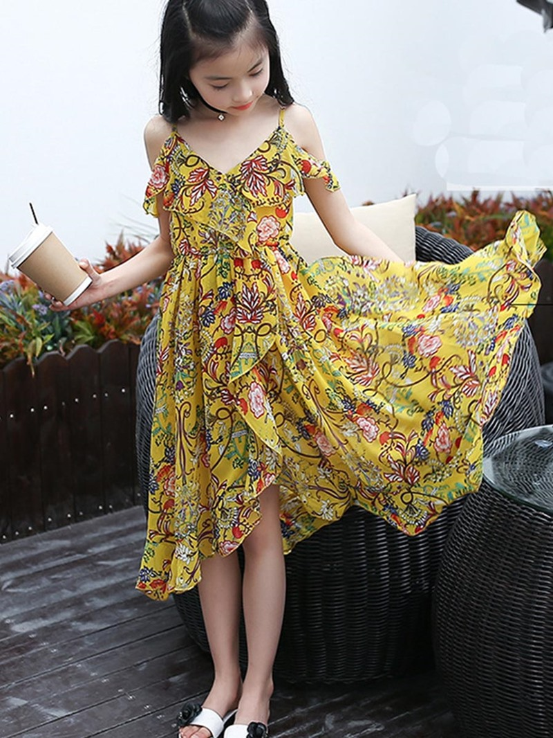 Ericdress Chiffon Asymmetric Floral Beach Girls Dress
