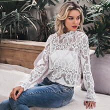 Mock Neck Sheer Lace Top Without Bandeau