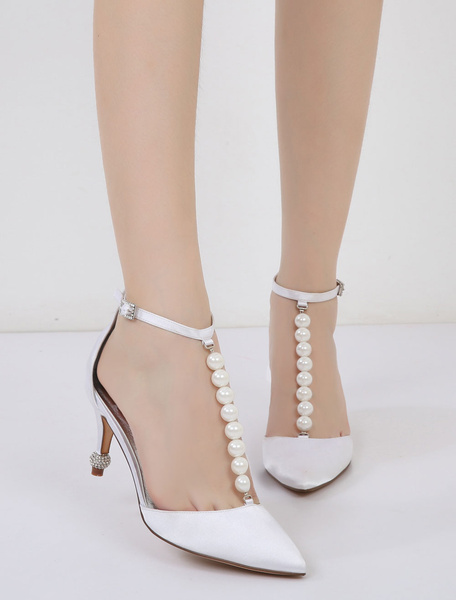 Milanoo Champagne Wedding Shoes Women's Pointed Toe Pearls Ankle Strap Bridesmaid Shoes
