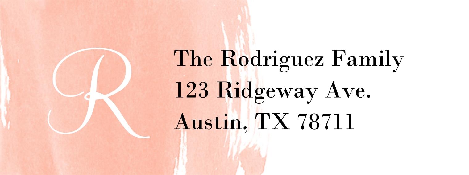 Monogram Return Address Labels, Card & Stationery -Watercolor Monogram (3x1)