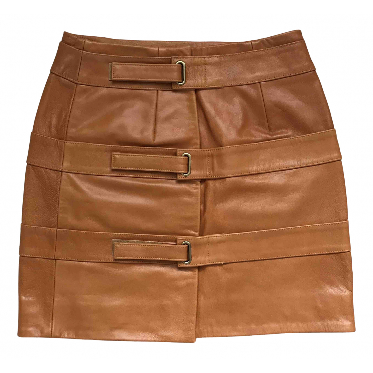 Non Signé / Unsigned \N Orange Leather skirt for Women S International
