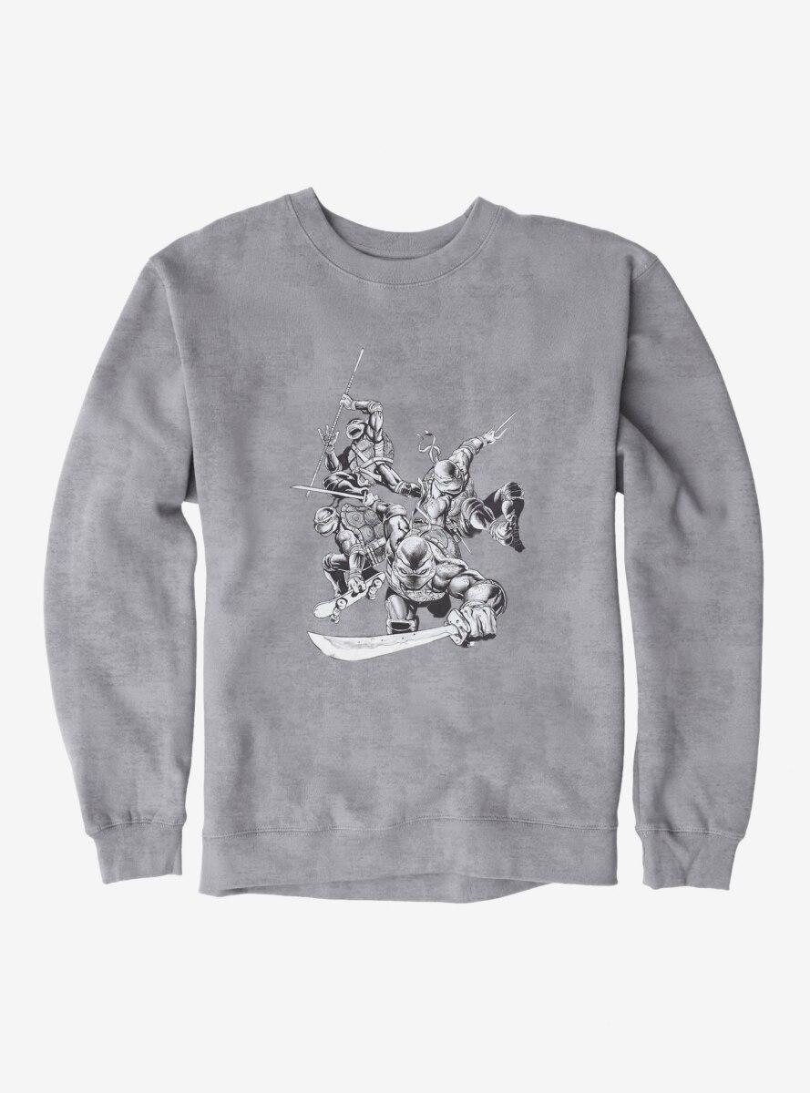 Teenage Mutant Ninja Turtles Black And White Battle Poses Sweatshirt