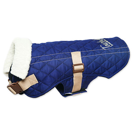 The Pet Life Touchdog Original Sherpa-Bark Designer Fashion-Forward Dog Coat, One Size , Blue