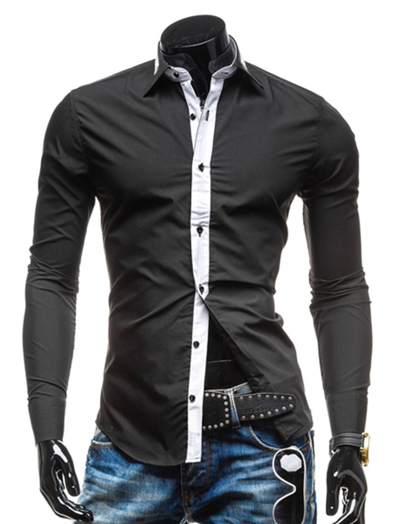 Ericdress Lapel Color Block Single-Breasted Shirt