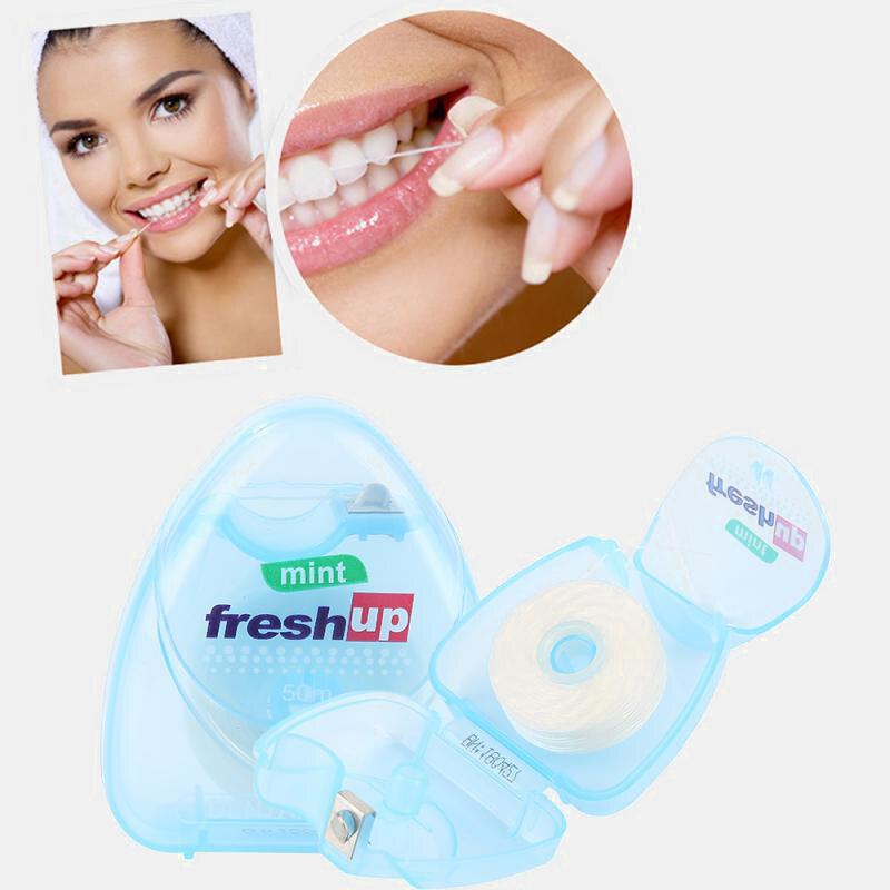 Portable 50M Micro-Wax Dental Floss Clean Teeth Reduce Tooth Decay Gum Disease Oral Care