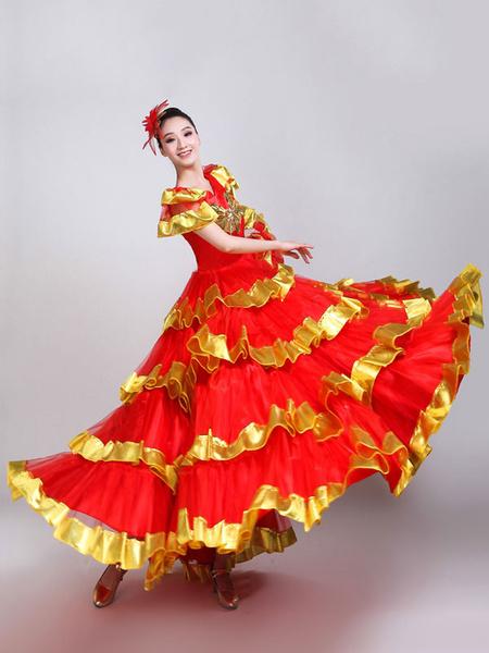 Milanoo Flamenco Girls Yellow Bubble Sleeves Mesh Billowing Dancing Skirt Adults Spanish Dancer Dress Ballroom Paso Doble Costume Halloween