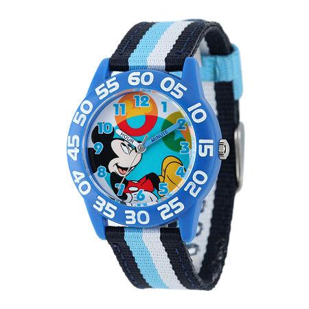 Disney Mickey Mouse Kids Time Teacher Striped Nylon Strap Watch, One Size , No Color Family