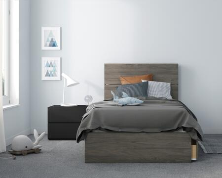 402415 Franklin 3 Piece Twin Size Bedroom Set with Storage Platform Bed + Headboard + Nightstand  in Bark Grey Laminate  Matte Black Lacquer And