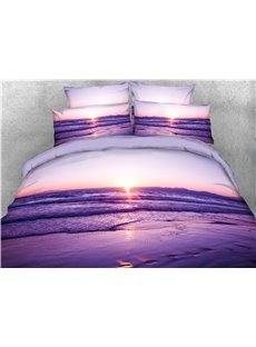 Beach Seaside Scene Purple Printed 4-Piece 3D Bedding Sets/Duvet Covers