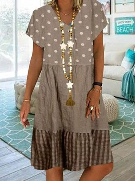 Milanoo Khaki Shift Dresses Short Sleeves V-Neck Tube Dress