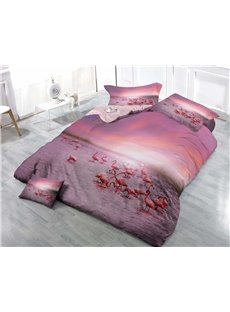 Pink Flamingo Wear-resistant Breathable High Quality 60s Cotton 4-Piece 3D Bedding Sets