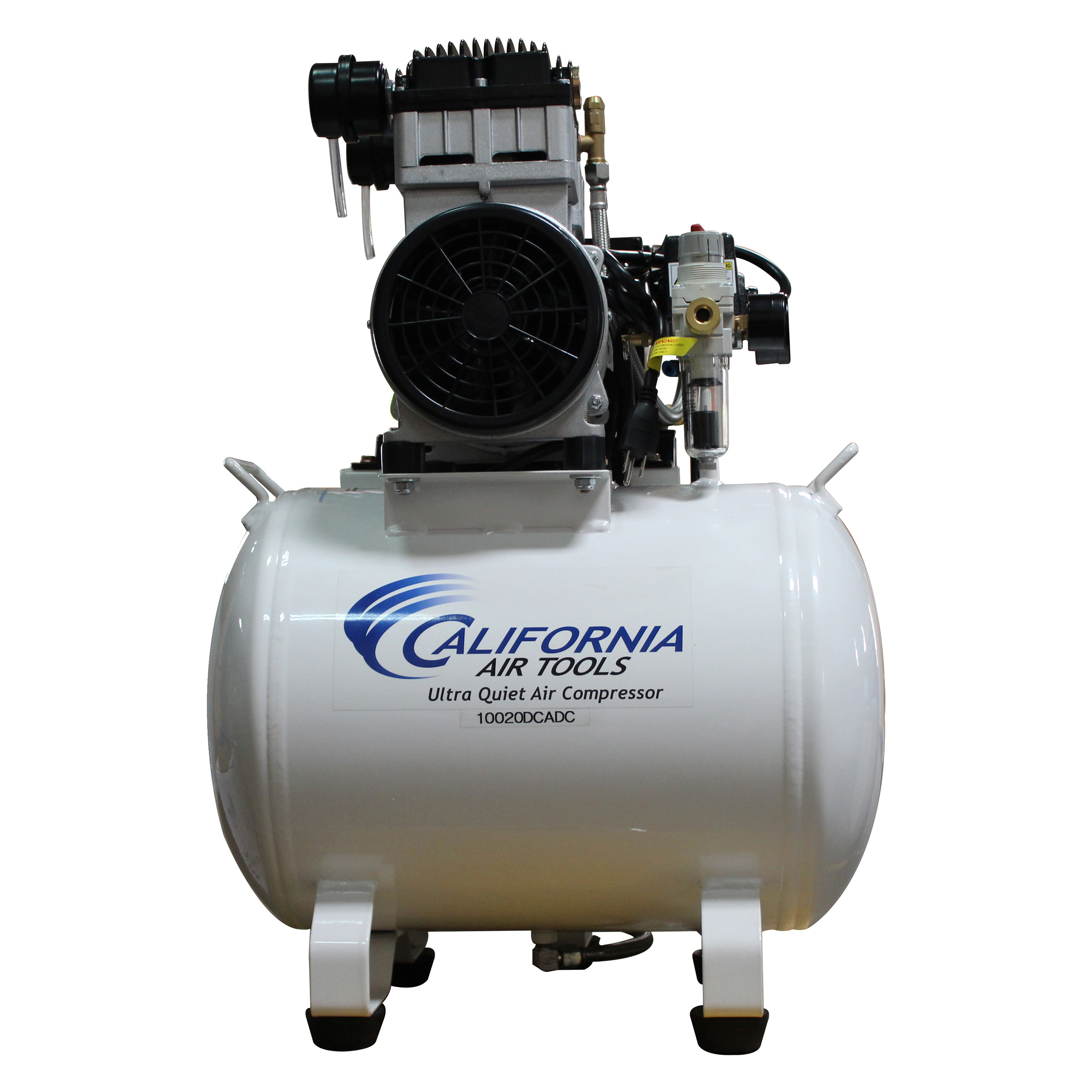 Ultra Quiet and Oil-Free 2 HP, 10 Gallon Steel Tank Air Compressor with Air Drying System