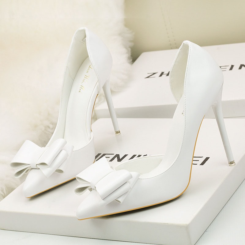 Ericdress Bow PU Pointed Toe Stiletto Heel Women's Pumps