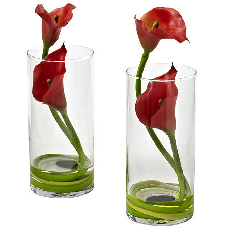 Nearly Natural Double Calla Set of 2 Lily With Cylinder, One Size , Red