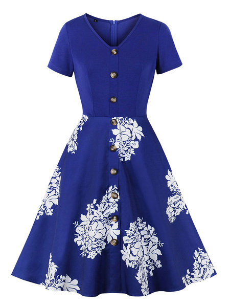 Milanoo Vintage Dress Womens Buttons Floral Print Short Sleeve 1950s Swing Retro Dresses