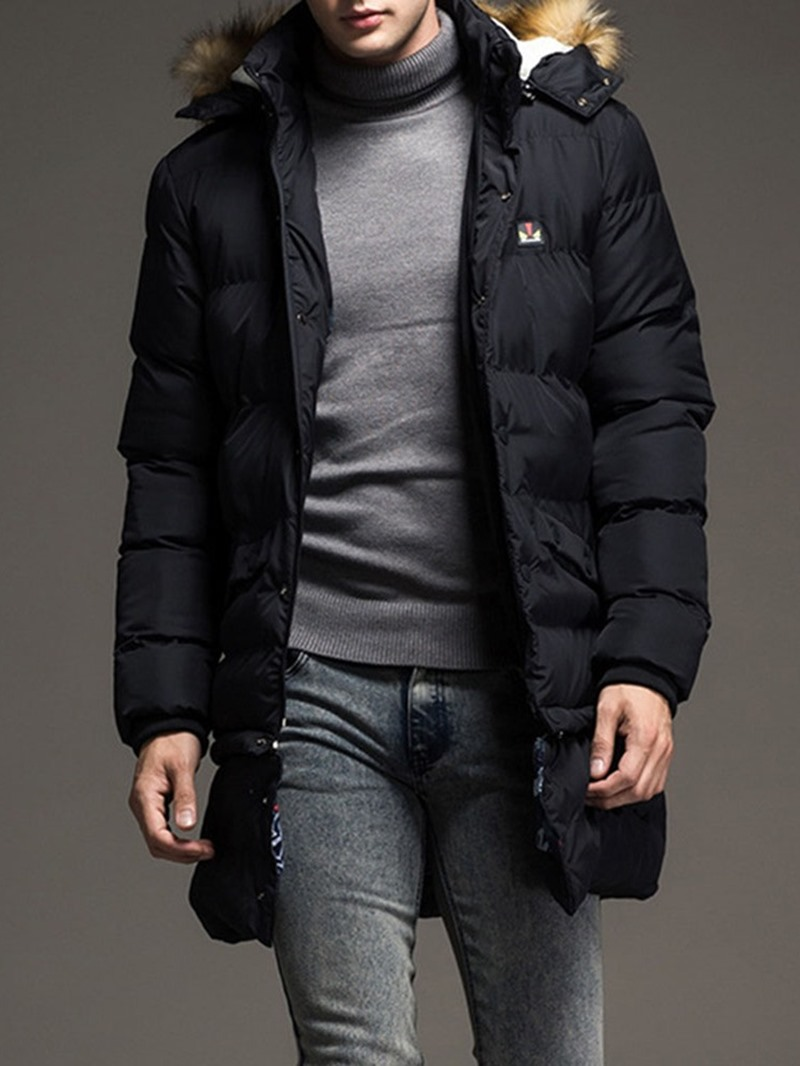 Ericdress Plain Mid-Length Casual Single-Breasted Men's Down Jacket