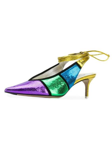 Milanoo Women Slingback Pumps Color Block Gold Pointed Toe Stiletto Heel Women Pumps