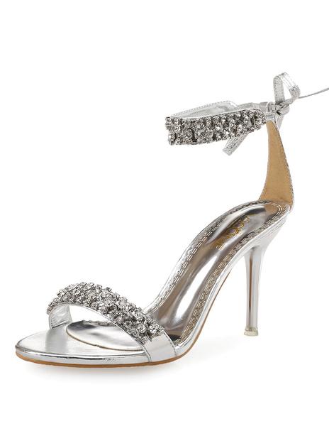 Milanoo High Heel Sandals Rhinestone Open Toe Strappy Stiletto Sandals Womens Dress Sandals