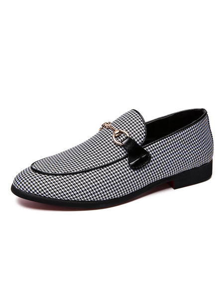 Milanoo Mens Gray Loafers Shoes Canvas Houndstooth Slip-On Driving Shoes