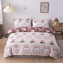 Cartoon Rabbit Print Bedding Set Without Filler