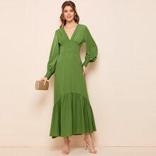 Lantern Sleeve Button Front Ruffle Hem Solid Dress