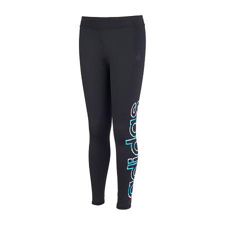 adidas Big Girls Mid Rise Legging, X-large (16) , Black