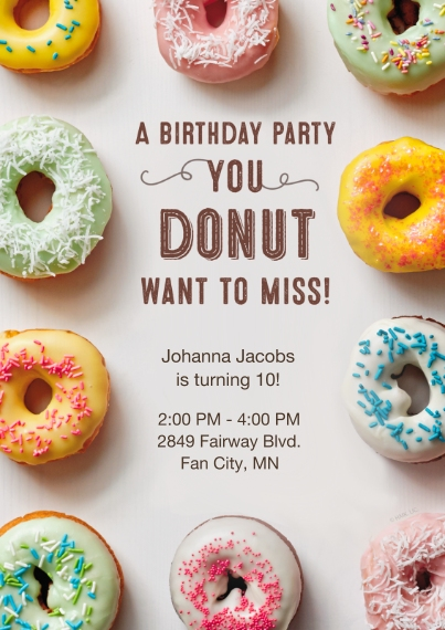 Birthday Party Invites 5x7 Cards, Premium Cardstock 120lb with Scalloped Corners, Card & Stationery -Donut Assortment Birthday Invitation by Hallmark