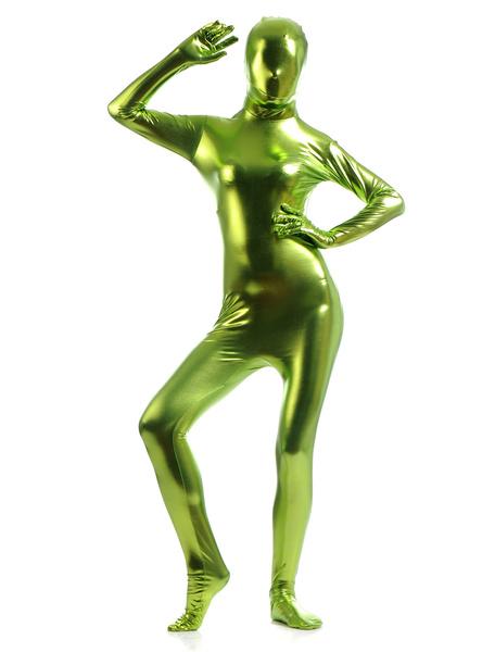 Milanoo Copper Green Zentai Suit Adults Unisex Full Body Shiny Metallic Bodysuit