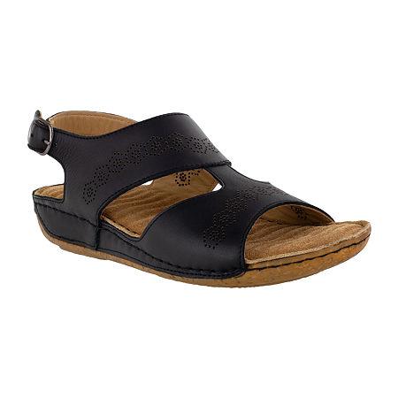 Easy Street Sloane Womens Adjustable Strap Footbed Sandals, 8 Medium, Black