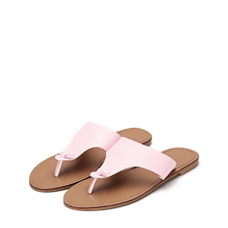 Yoins Pink Leather Look Simple Style Toe Post Flat Slippers