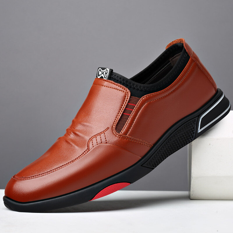 Men Comfy Cowhide Leather Soft Sole Slip-on Business Casual Shoes