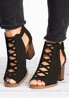 Criss-Cross Peep Toe Heeled Sandals - Black
