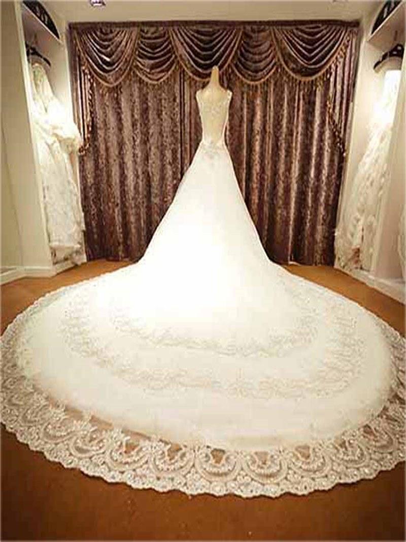 Luxurious A-Line Crystal Bateau Neckline Cathedral Wedding Dress