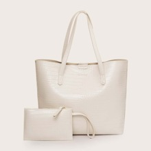 Croc Embossed Tote Bag With Wristlet Bag