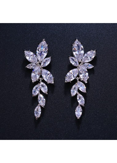 Mother's Day Gifts Leaf Shape Silver Metal Rhinestone Embellished Ear Studs - One Size