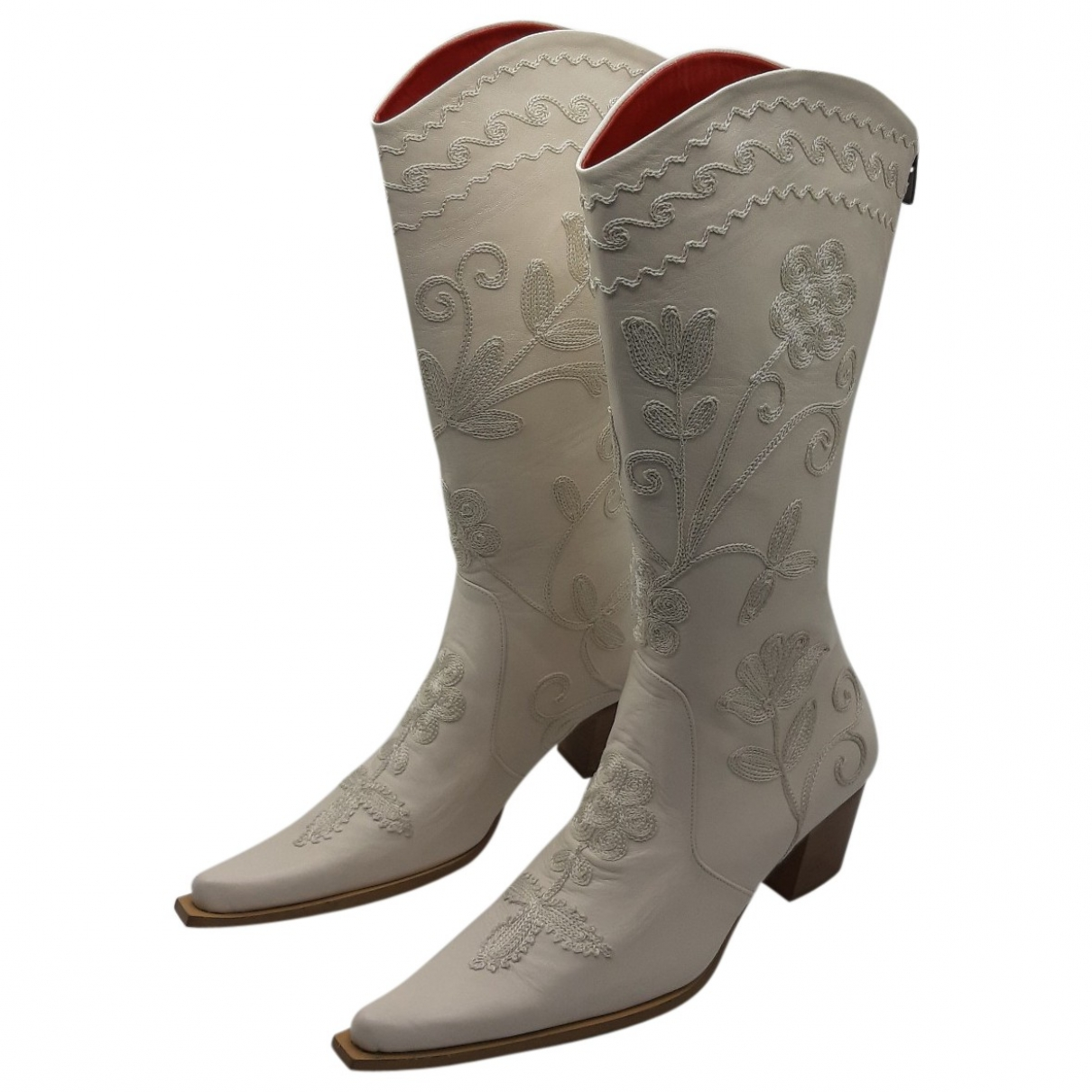 Non Signé / Unsigned Hippie Chic White Leather Boots for Women 40 EU