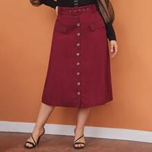 Plus Single Breasted Front Flap Detail Buckle Belted Skirt