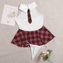 Plus Tartan School Uniform & Thong