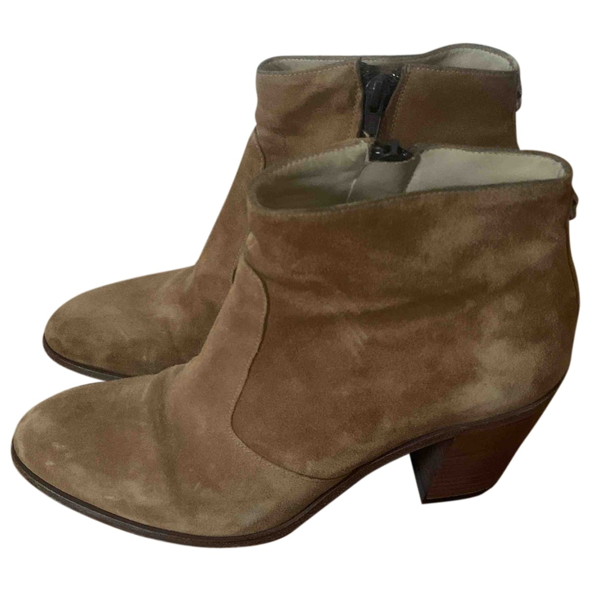 Free Lance \N Beige Leather Ankle boots for Women 38 EU