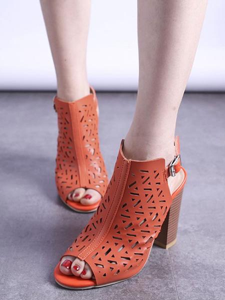 Milanoo Women Summer Boots PeepToe Cut Out Slingbacks Sandal Boots