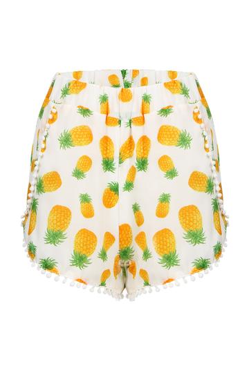 Yoins Semi-sheer Printing Pattern Shorts with Pom Pom Trim