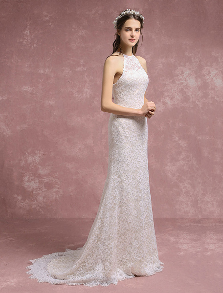 Milanoo Summer Wedding Dresses 2020 Lace Boho Mermaid Bridal Gown Halter Bridal Dress With Court Train